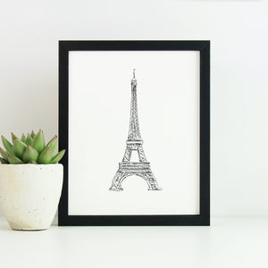 Eiffel Tower Monochrome Sketch