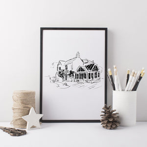 Black And White House Illustration