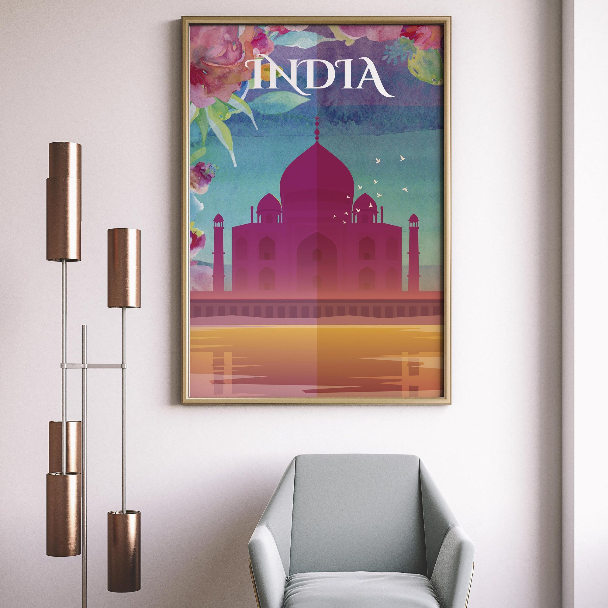India, Taj Mahal, Agra, Cityscape Travel Print