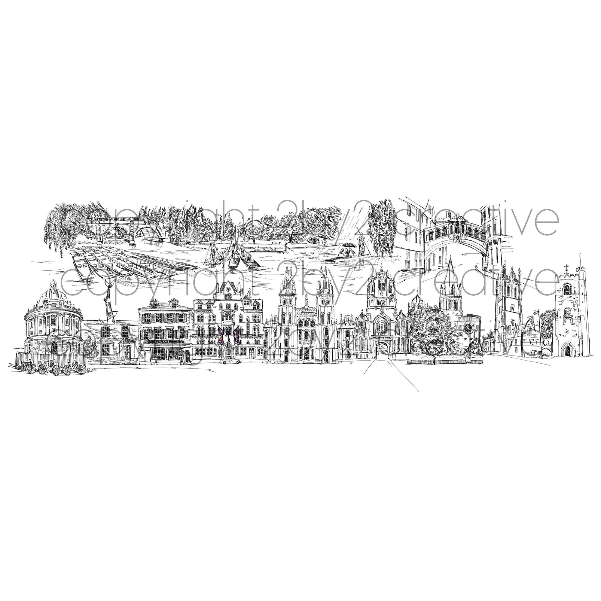 Oxford Skyline Cityscape Art Print