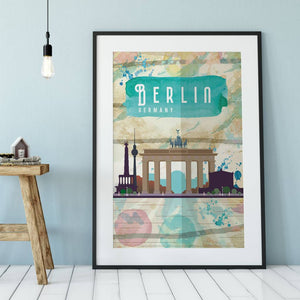 Berlin Germany Cityscape Travel Poster