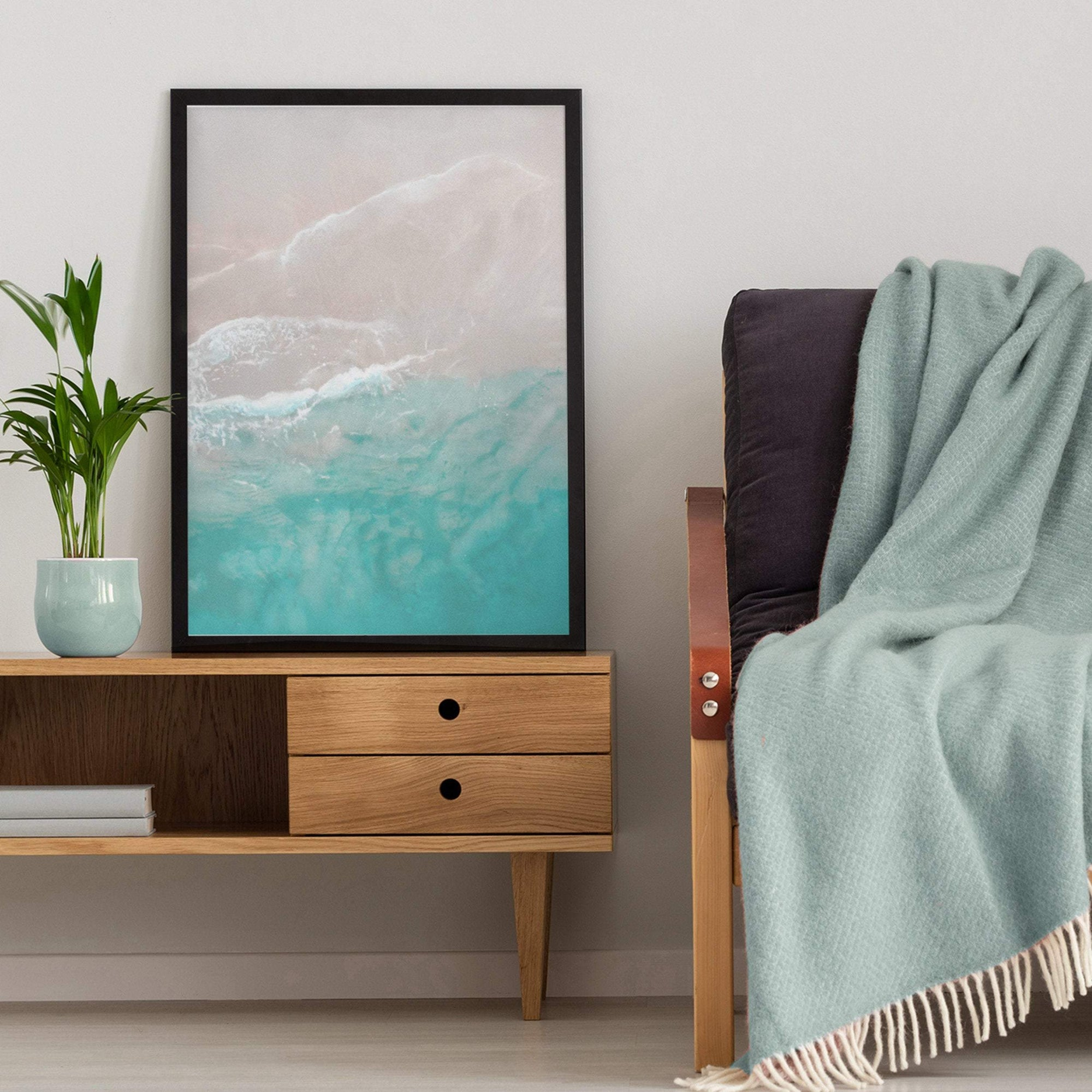 Ocean gentle wave over sand unframed coastal art print