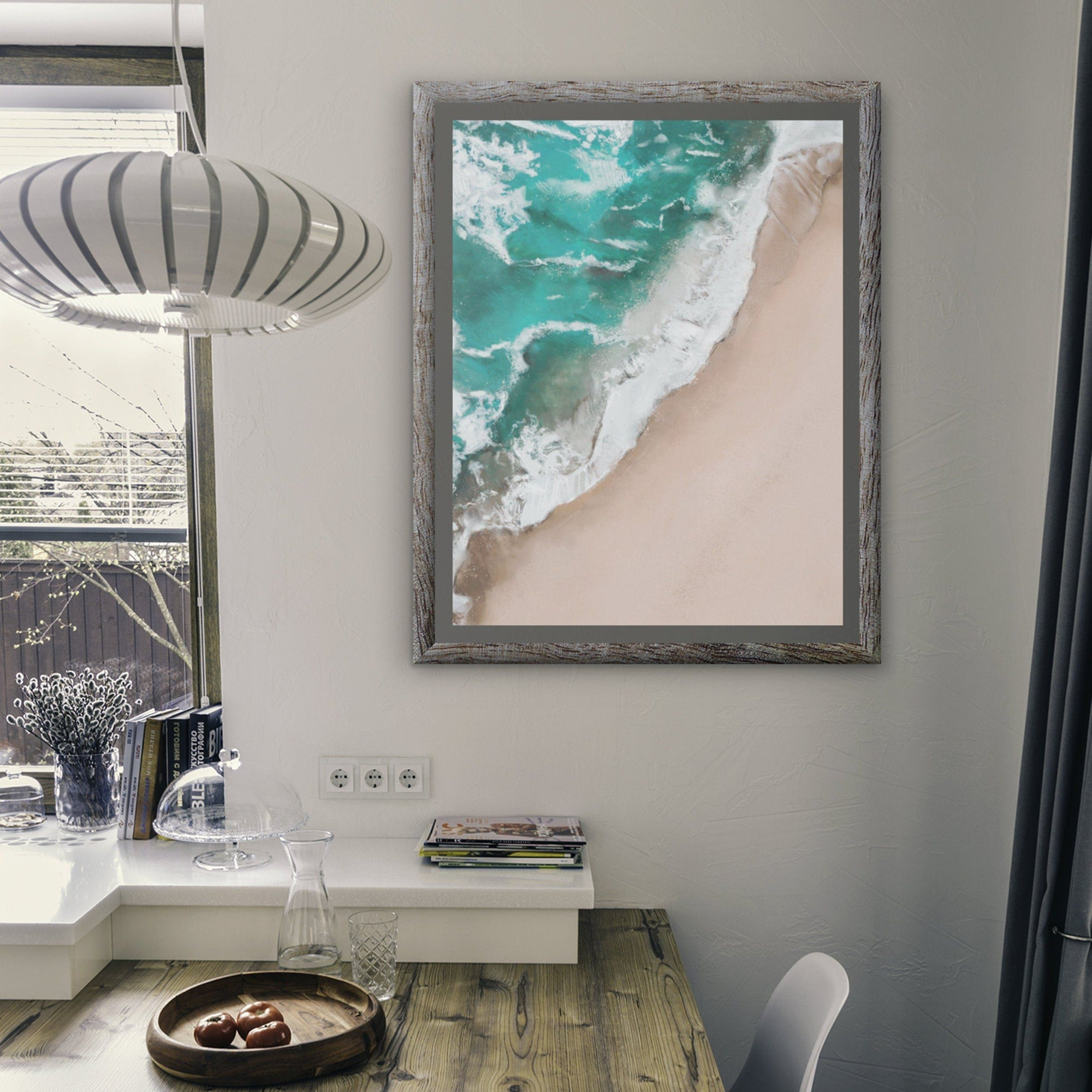 Wave and sandy beach ocean art print