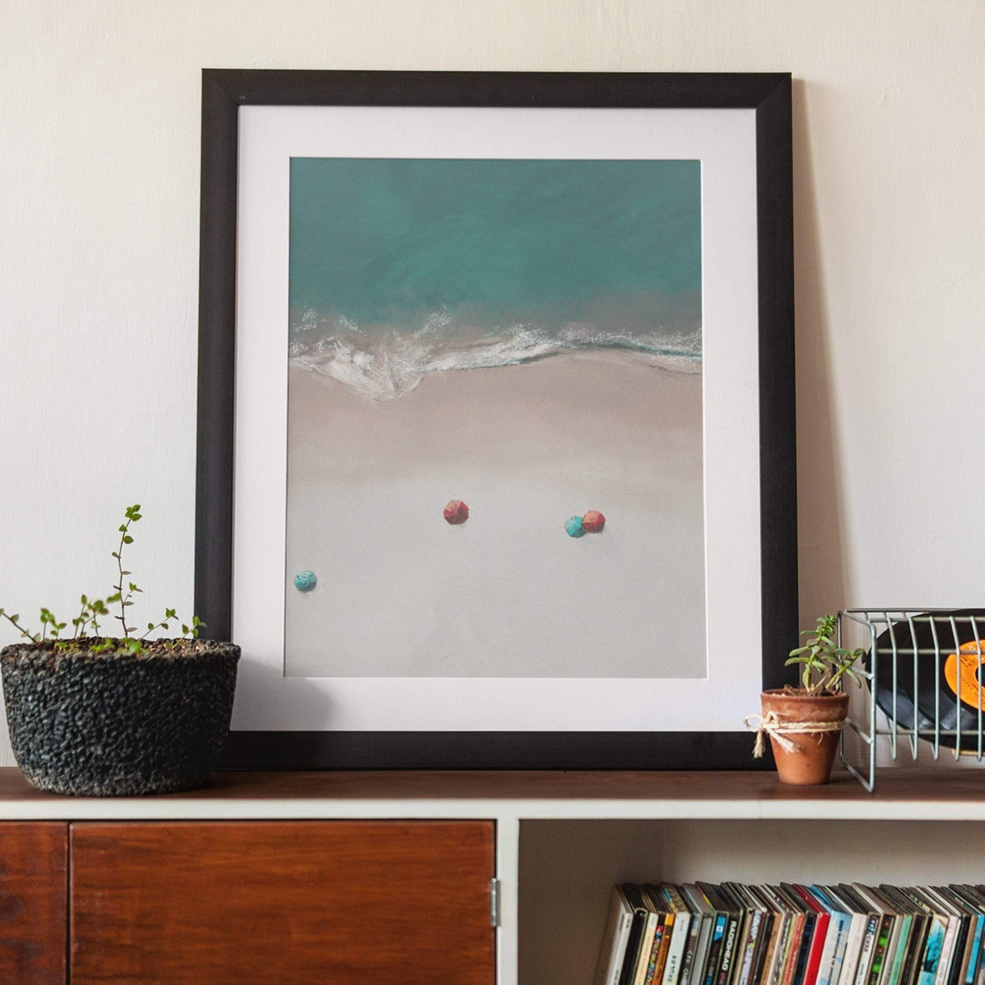 4 beach umbrellas, ariel view ocean coastal art print