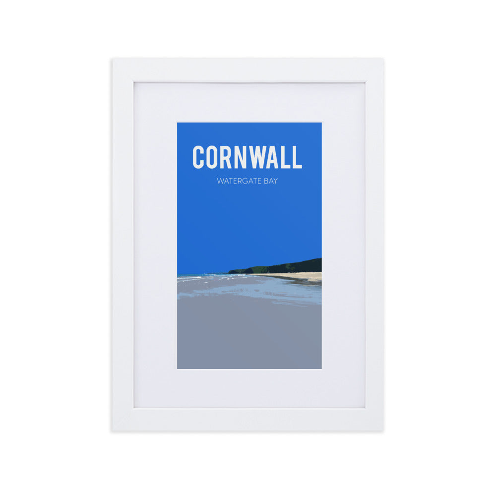 Watergate Bay, framed fine art print, with mount