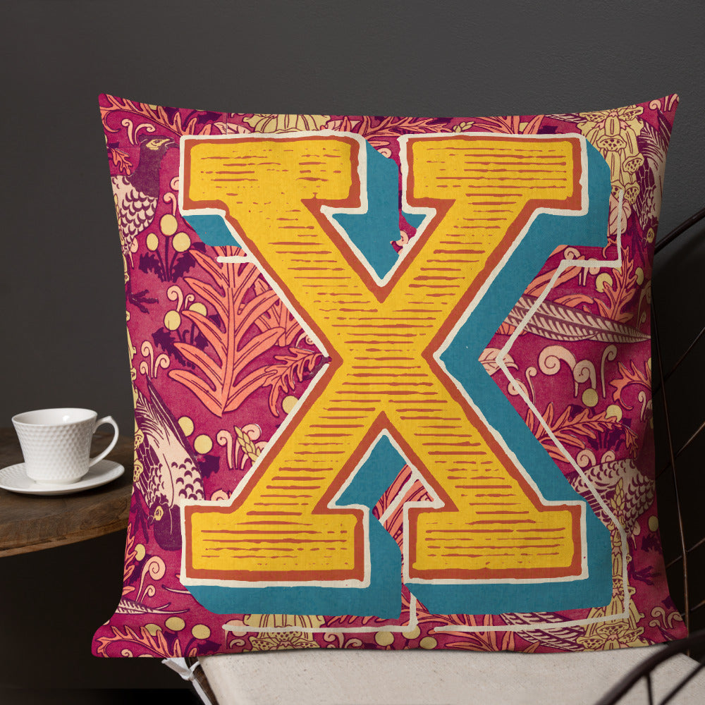 Letter X, vintage monogram graphic cushion