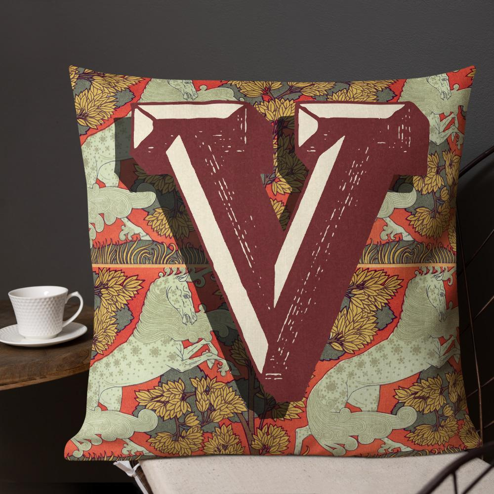 MONOGRAM, LETTER V Premium Pillow