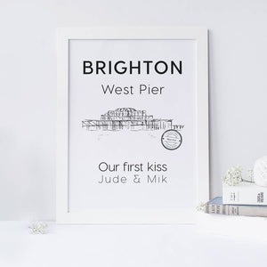 Brighton Old Pier Illustrated Art Print