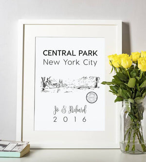 Central Park In The Snow Illustrated Art Print