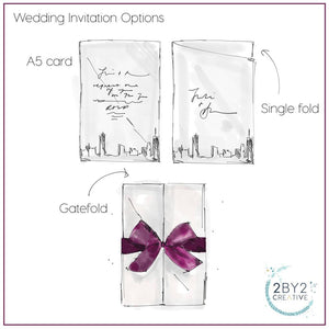 Wedding Invitation With Two Venue Drawings