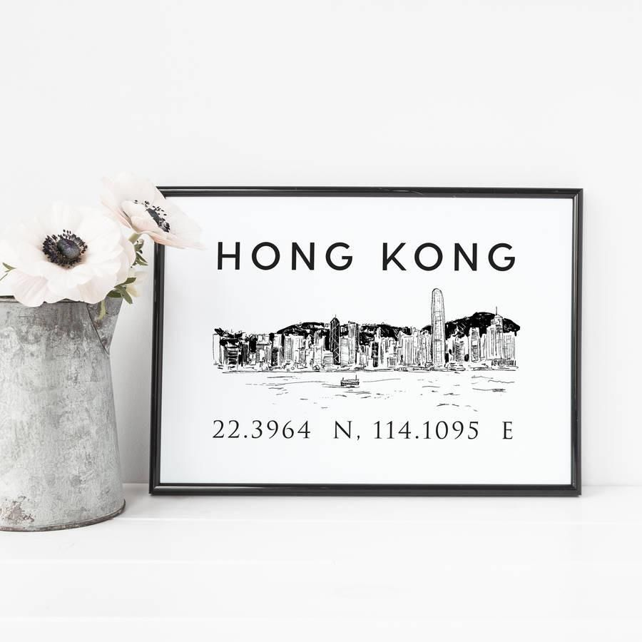 Hong Kong Illustrated Skyline Print