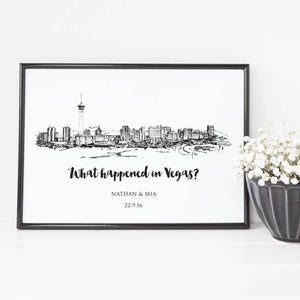 Las Vegas Skyline Illustrated Art Print