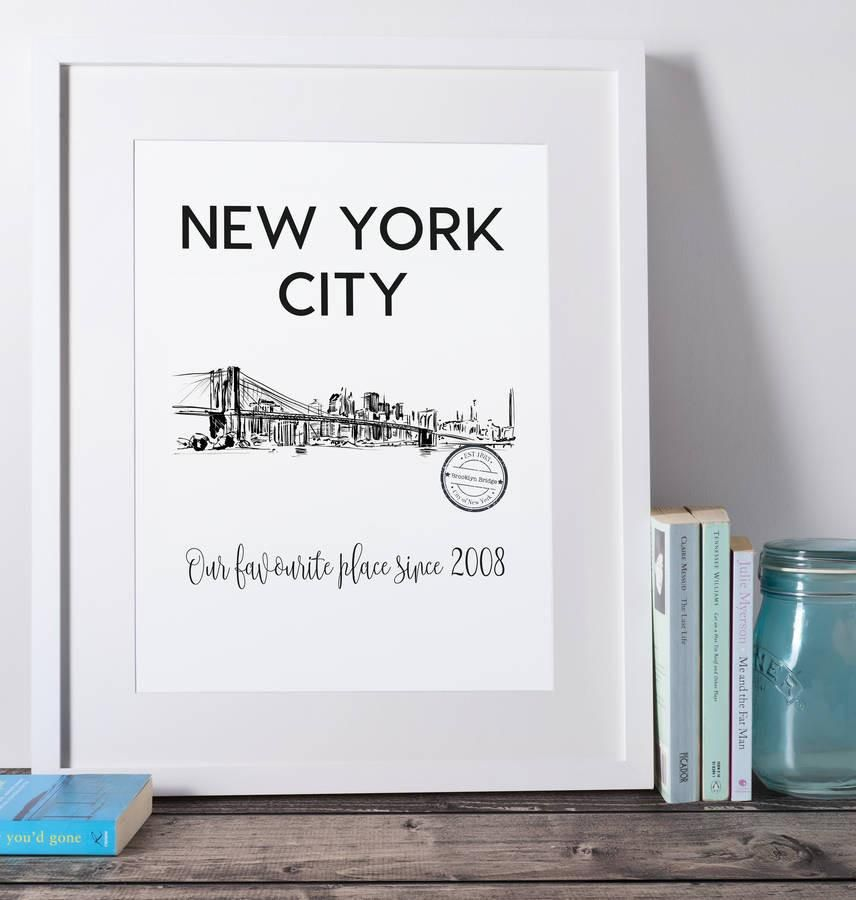 New York Brooklyn Bridge Personalised Art Print