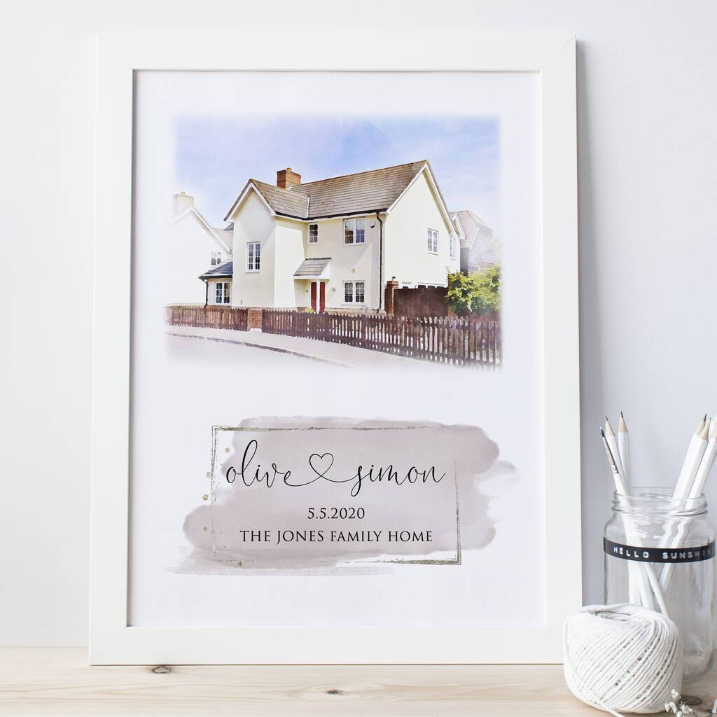 Personalised House Portrait with colour block