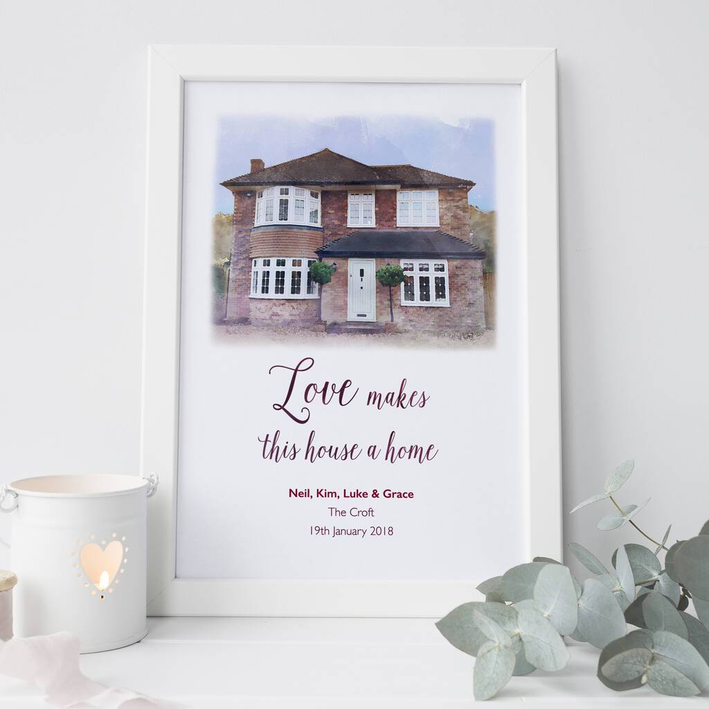 Personalised House Portrait with quote