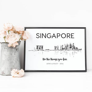 Singapore Skyline Illustrated Art Print