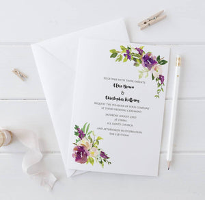 Watercolour Bouquet Wedding Invitation