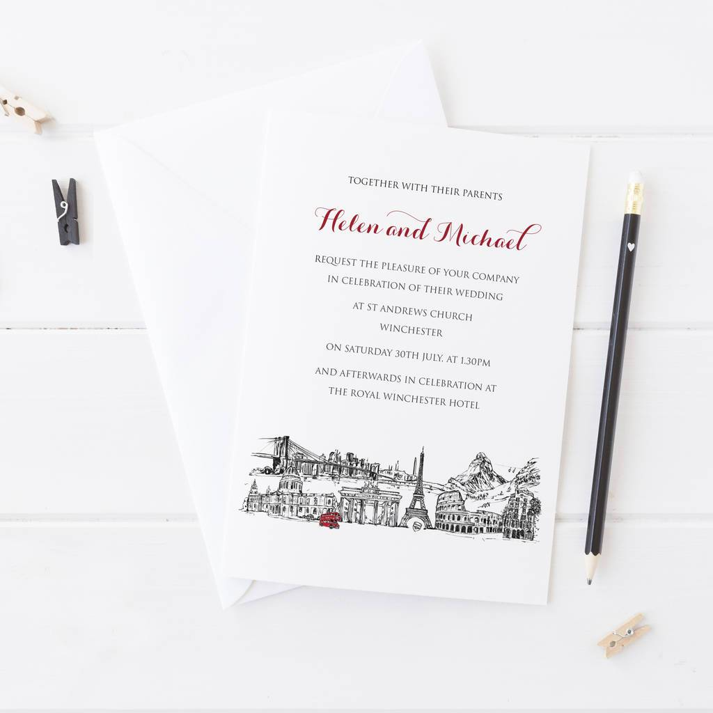 Your Skyline Wedding Invitations - 2by2 Creative