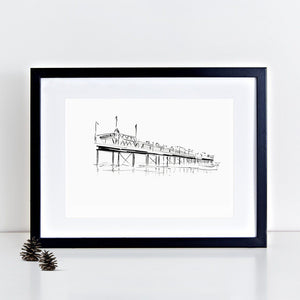 Paignton Pier Illustrated Art Print