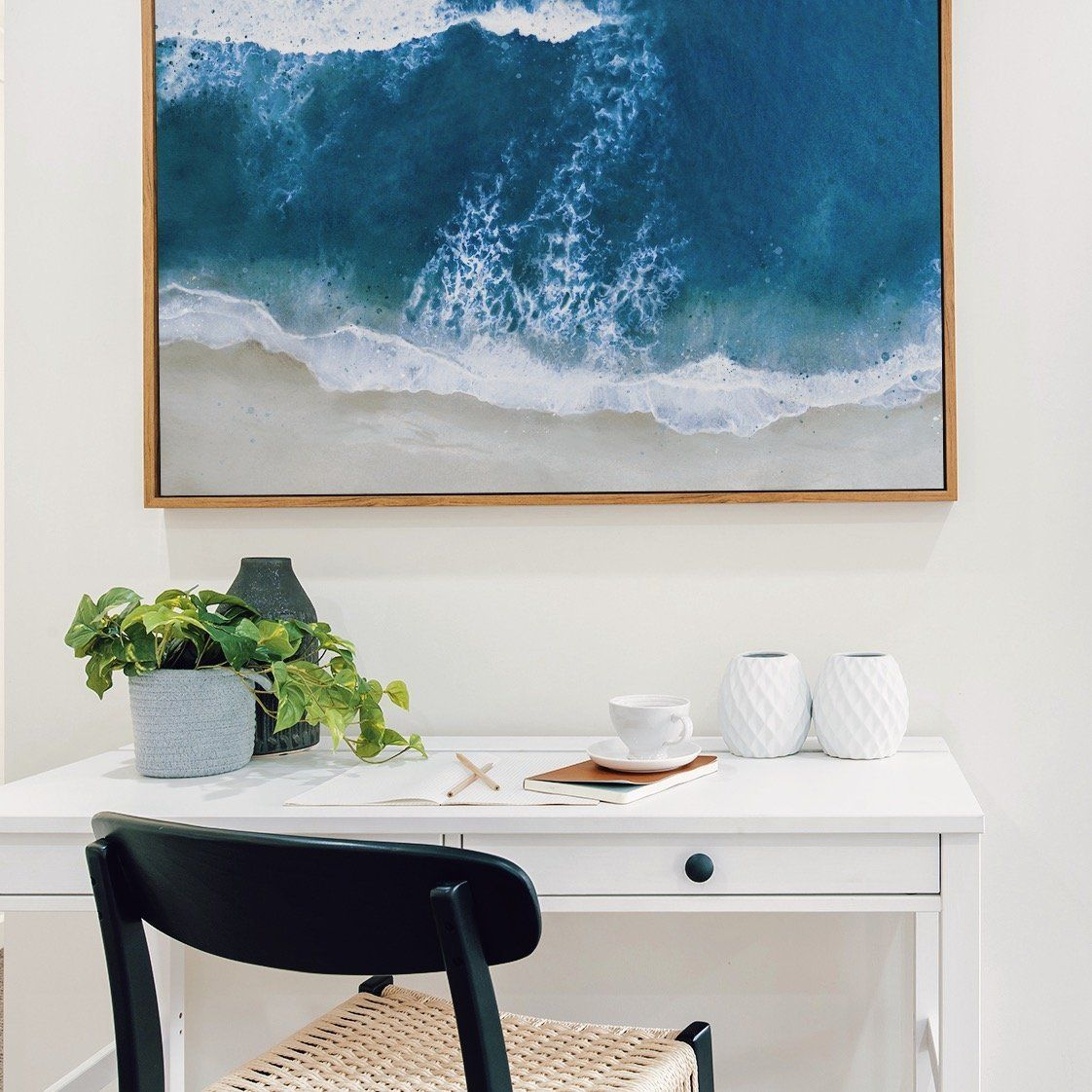 Blue Ocean beach wave coastal art print