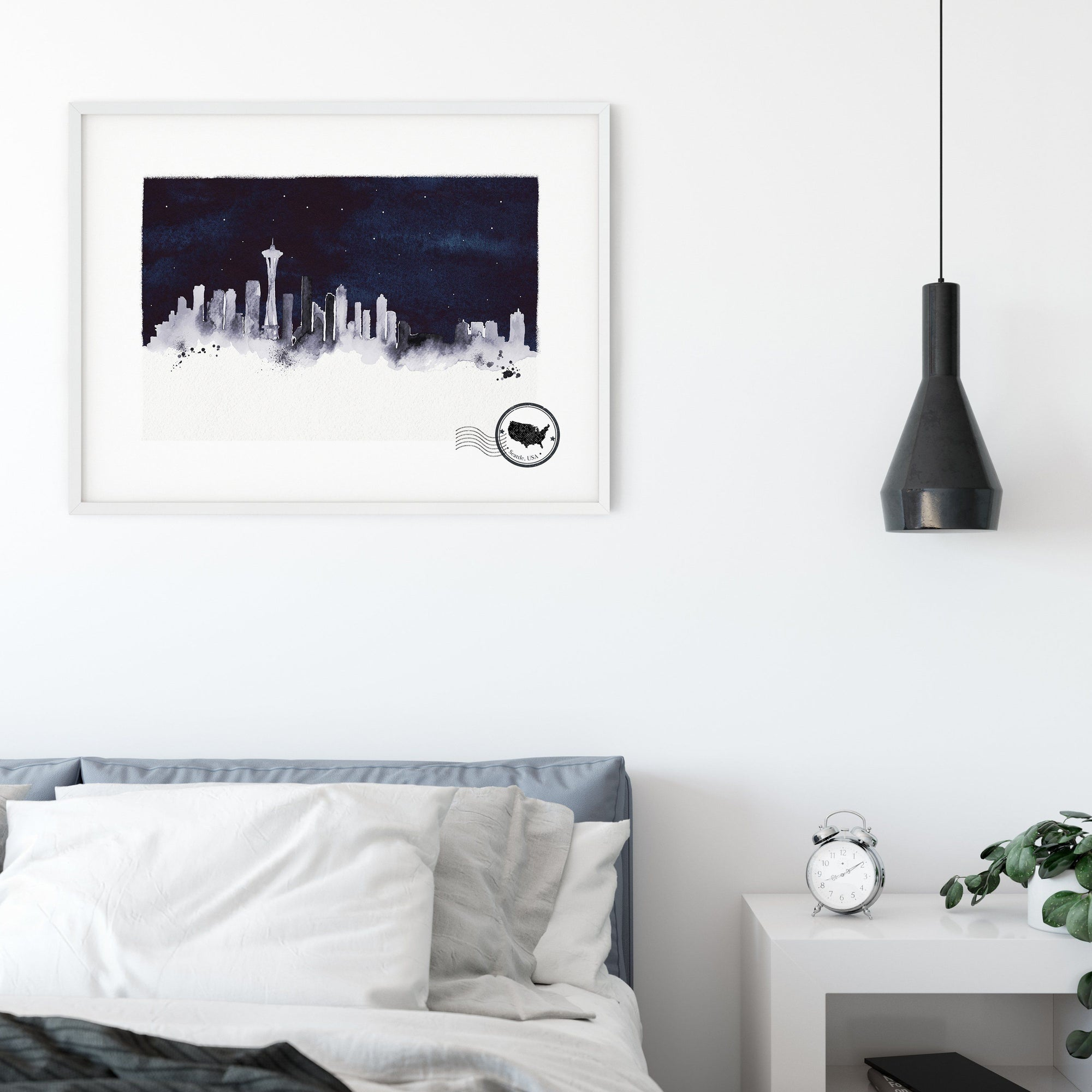 Seattle at night framed art print