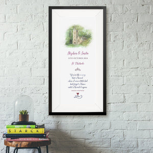 Tall portrait with names, date & venue