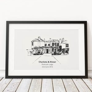 Wedding Venue Black and White Drawing