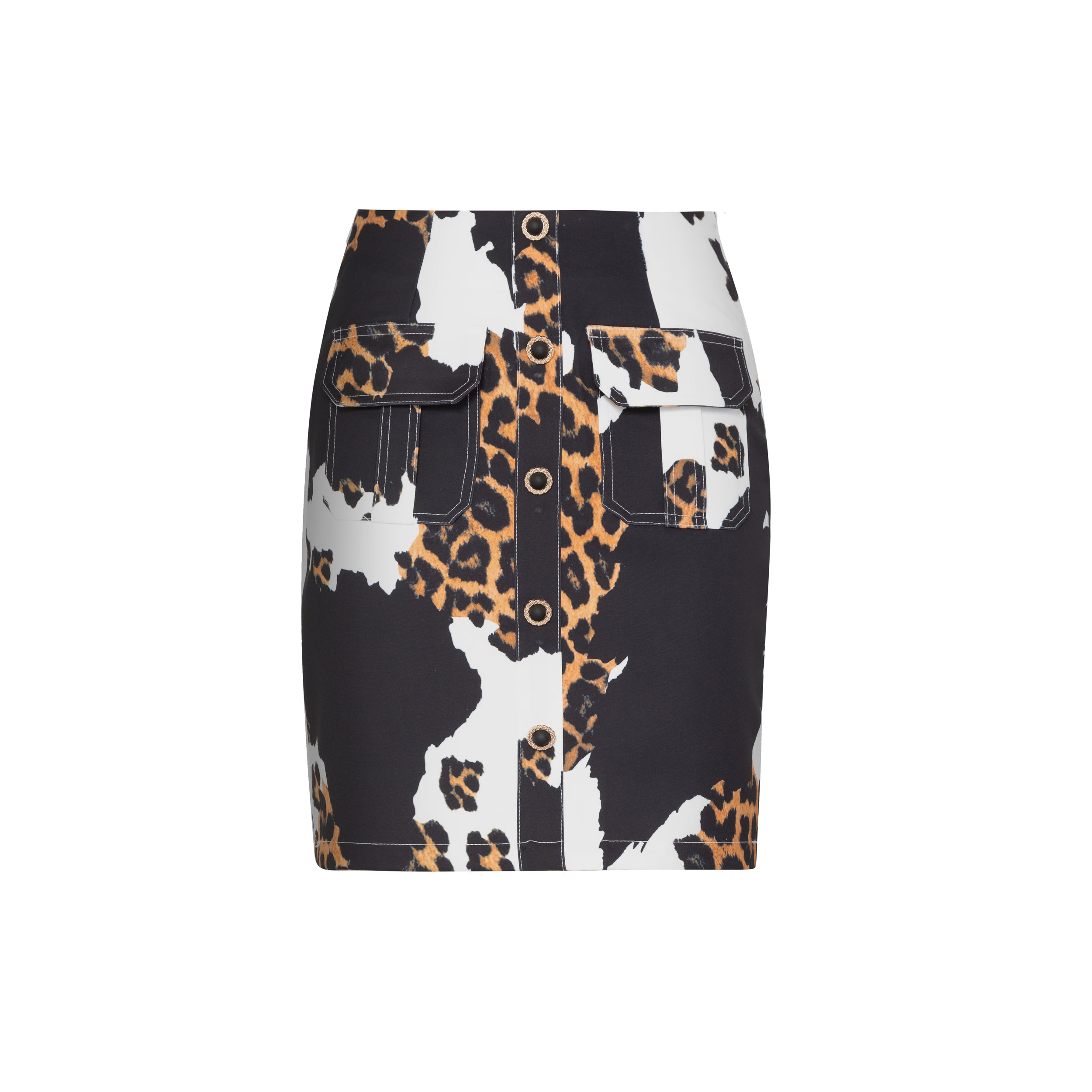 mioh | ROSS - Falda collage animal print y bolsillos
