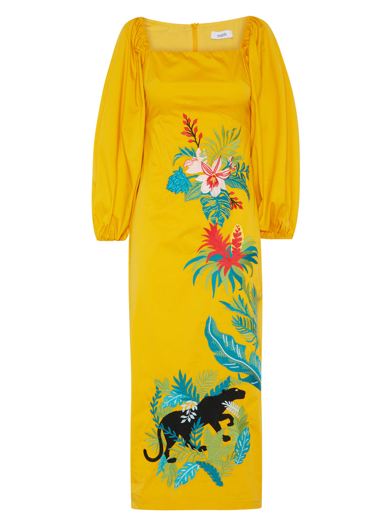 #TROPIC - Vestido popelín bordado tropical
