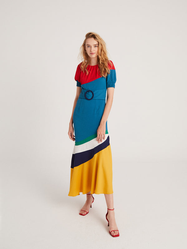 mioh | #COLORFUL - Vestido midi patchwork multicolor