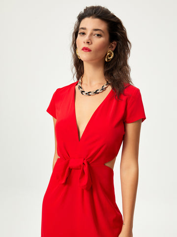 LIRIO - Vestido largo rojo cut out