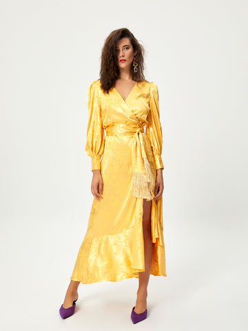 NARCISO - Vestido wrap midi en damasco amarillo
