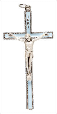 Crucifix  Pendant  Pale Blue  Enamel - Louie's Gift Shop