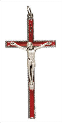 Crucifix  pendant  red enamel - Louie's Gift Shop