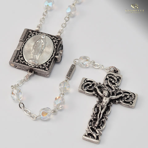 Lourdes silver plated Rosary -Ghirelli -11410
