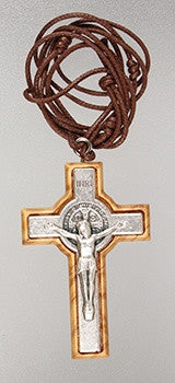 Small Olive Wood Benedictine Crucifix with Cord - Louie's Gift Shop