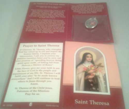Verse / Prayer Card with Silver Relic Metal Oxidised Medal St.Theresa