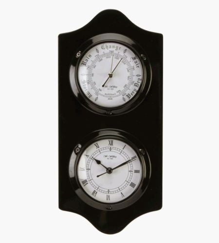 Polished Wood Clock and Barometer - Black - Louie's Gift Shop