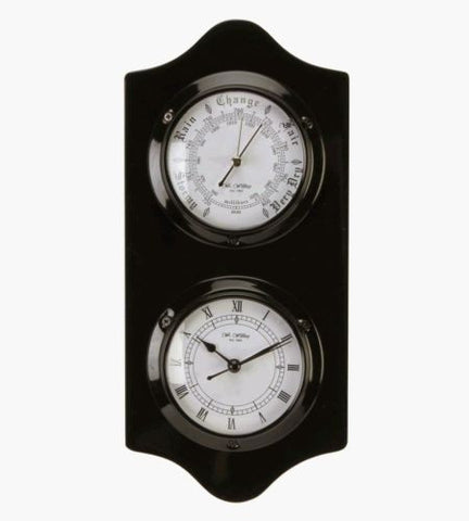 Polished Wood Clock and Barometer - Black