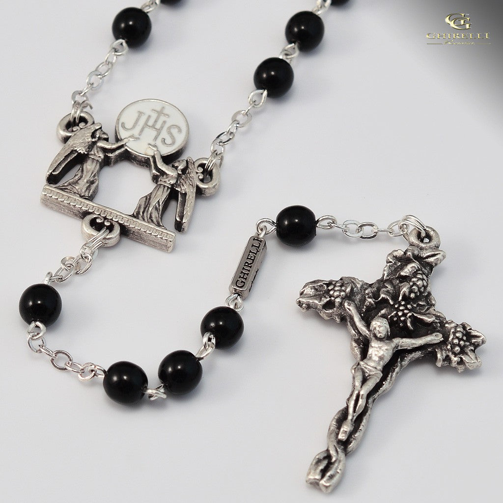 Holy Communion silver plated Rosary- Ghirelli -140155 - Louie's Gift Shop