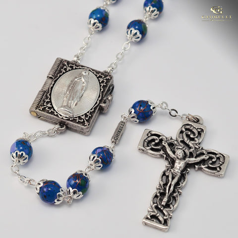 Lourdes silver plated Rosary -Ghirelli  -14933