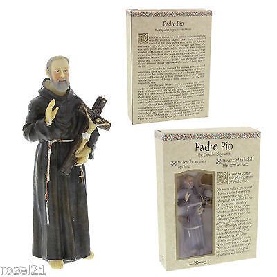 "St. Pio (Padre Pio) Statue - 3.5"" Resin Painted (Roman 5028-9) - Louie's Gift Shop"