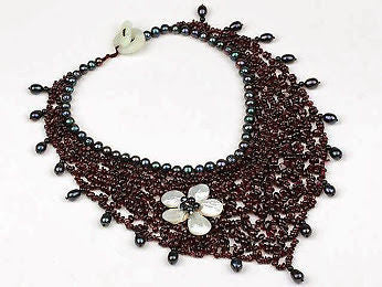 Freshwater Pearls and Garnet Necklace - Louie's Gift Shop