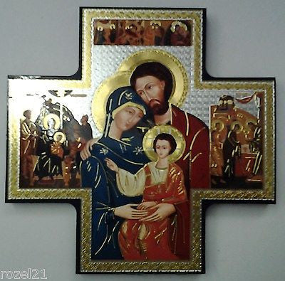 Holy Family, Wood Icon Cross 6'' x 6'