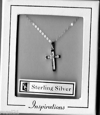 Sterling Silver Cross & 18'' Chain with White Crystal