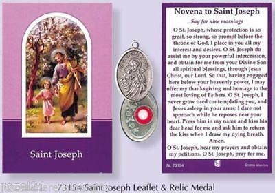 Verse / Prayer Card with Silver Relic St.Joseph Metal Oxidised Medal