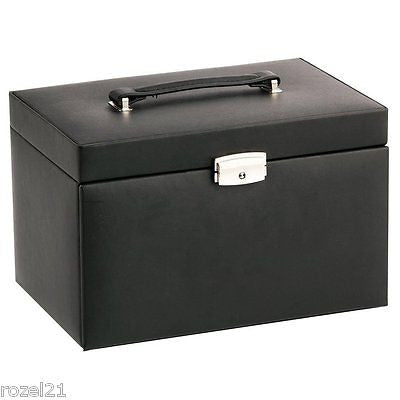 Duchess Black & Pink Bonded Leather Jewellery Box