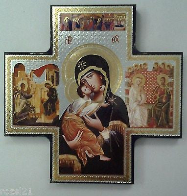 Our Lady of Perpetual Help, Wood Icon Cross - Louie's Gift Shop