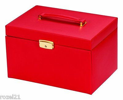 Duchess Red Bonded Leather Jewellery Box - Louie's Gift Shop