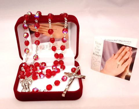 Glass rosary  real crystal -Ruby -louies-gifts